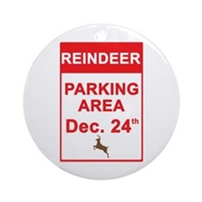 Reindeer Parking Area Ornament (Round)