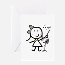 Girl & Conductor Greeting Card