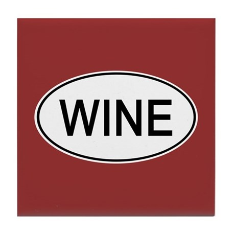 Wine Euro Oval red Tile Coaster