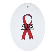Aids Awareness Oval Ornament