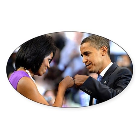 Obama Fist Bump Oval Sticker