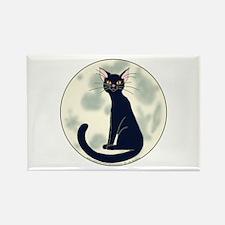 Black Cat & Full Moon Rectangle Magnet