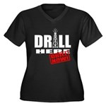 Drill Here and Now Women's Plus Size V-Neck Dark T