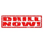 Drill Now! Stamped Bumper Sticker