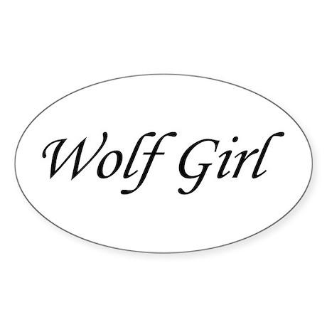 Wolf Girl Oval Sticker