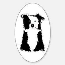 White Border Collie Oval Decal