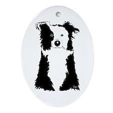 White Border Collie Oval Ornament