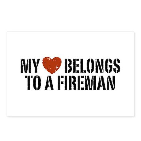 My Heart Belongs to a Fireman Postcards (Package o