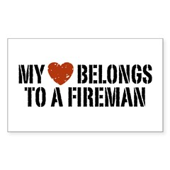 My Heart Belongs to a Fireman Rectangle Decal