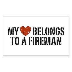 My Heart Belongs to a Fireman Rectangle Decal