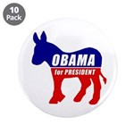 "Obama Democrat Donkey 3.5"" Button (10 pack)"