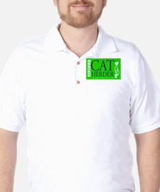 Cat Herder 2 Green web png Golf Shirt