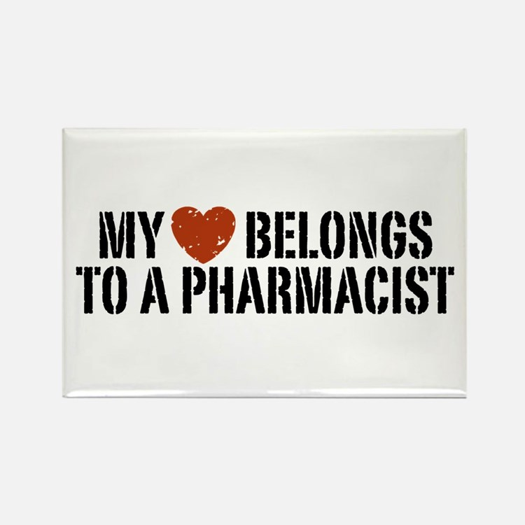 My Heart Belongs to a Pharmacist Rectangle Magnet