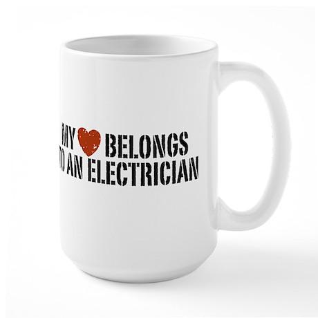 My Heart Belongs to an Electrician Large Mug
