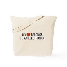 My Heart Belongs to an Electrician Tote Bag