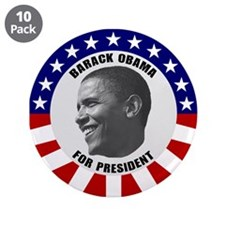 "Classic B & W Obama 3.5"" Button (10 Pack)"