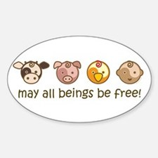 Mat All Beings Be Free Oval Decal