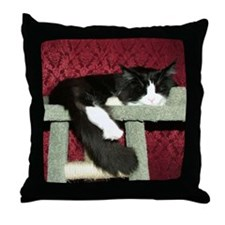 Snoozing B&W Maine Coon Cat Throw Pillow