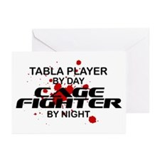 Tabla Plyr Cage Fighter by Night Greeting Cards (P