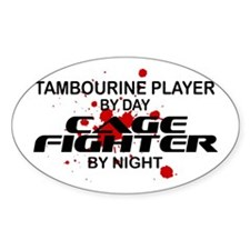 Tambourine Cage Fighter by Night Oval Stickers
