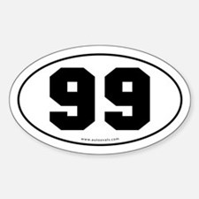 #99 Euro Bumper Oval Sticker -White