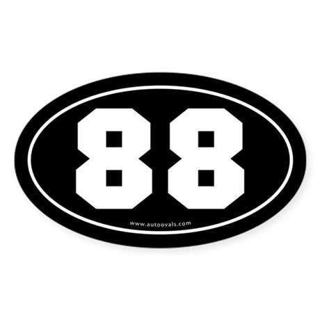 #88 Euro Bumper Oval Sticker -Black