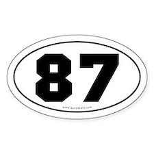 #87 Euro Bumper Oval Sticker -White