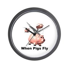Flying Pigs Wall Clock