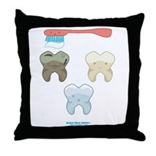 Kawaii Teeth Trio Throw Pillow