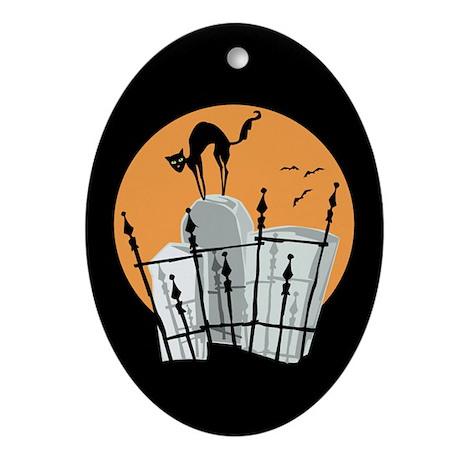 Halloween Cemetery Cat Oval Ornament