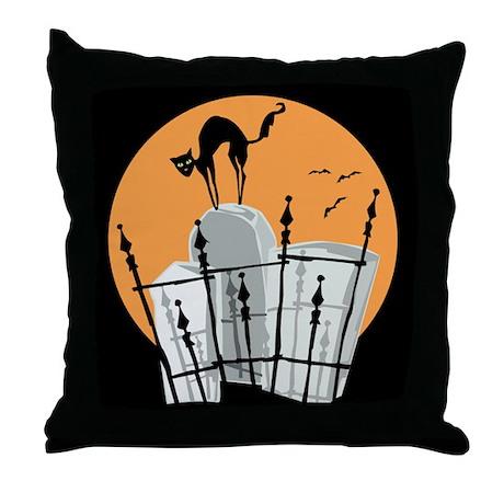 Halloween Cemetery Cat Throw Pillow