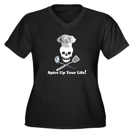 Cooking Skull Chef Women's Plus Size V-Neck Dark T