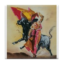 Funny Bullfighter Tile Coaster