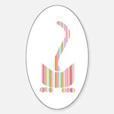 Stripey Pounce Cat Oval Decal