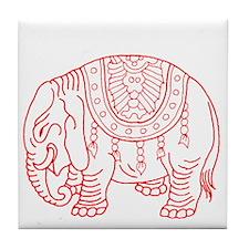 Japanese elephant - red - Tile Coaster