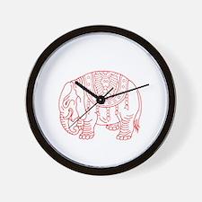 Japanese elephant - red - Wall Clock