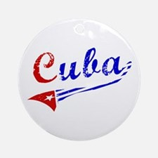 Cuba Flag Distressed Ornament (Round)
