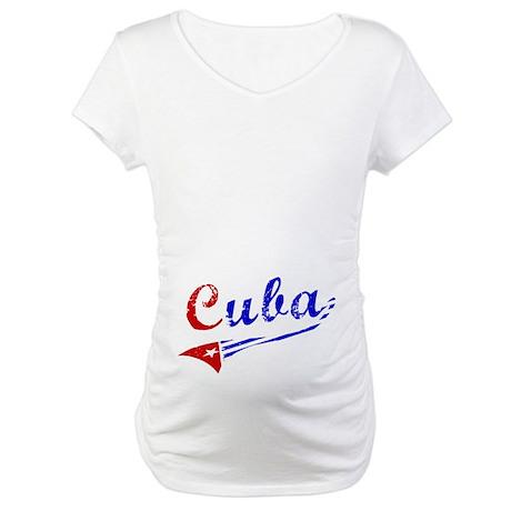 Cuba Flag Distressed Maternity T-Shirt