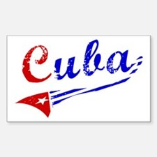 Cuba Flag Distressed Rectangle Decal