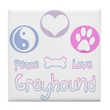 Greyhound Peace(blue) Tile Coaster