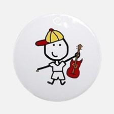 Boy & Electric Guitar Ornament (Round)