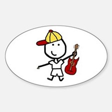 Boy & Electric Guitar Oval Decal