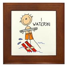 I Waterski Framed Tile