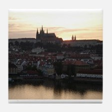 Prague Castle at Sunset Tile Coaster