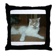 White and Tan Cat Throw Pillow