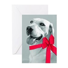 christmas dog bow Greeting Cards