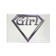 Super Girl Silver Rectangle Magnet