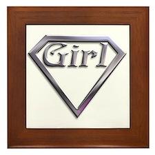 Super Girl Silver Framed Tile