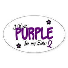 I Wear Purple For My Sister 14 Oval Decal
