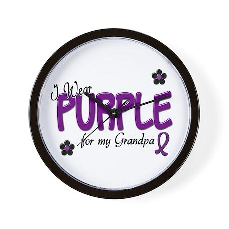 I Wear Purple For My Grandpa 14 Wall Clock